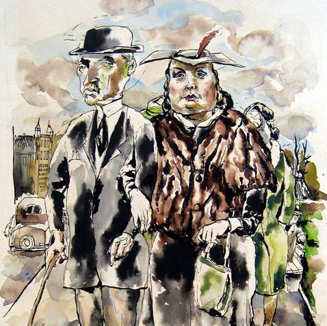 Elegant Strollers, c. 1940