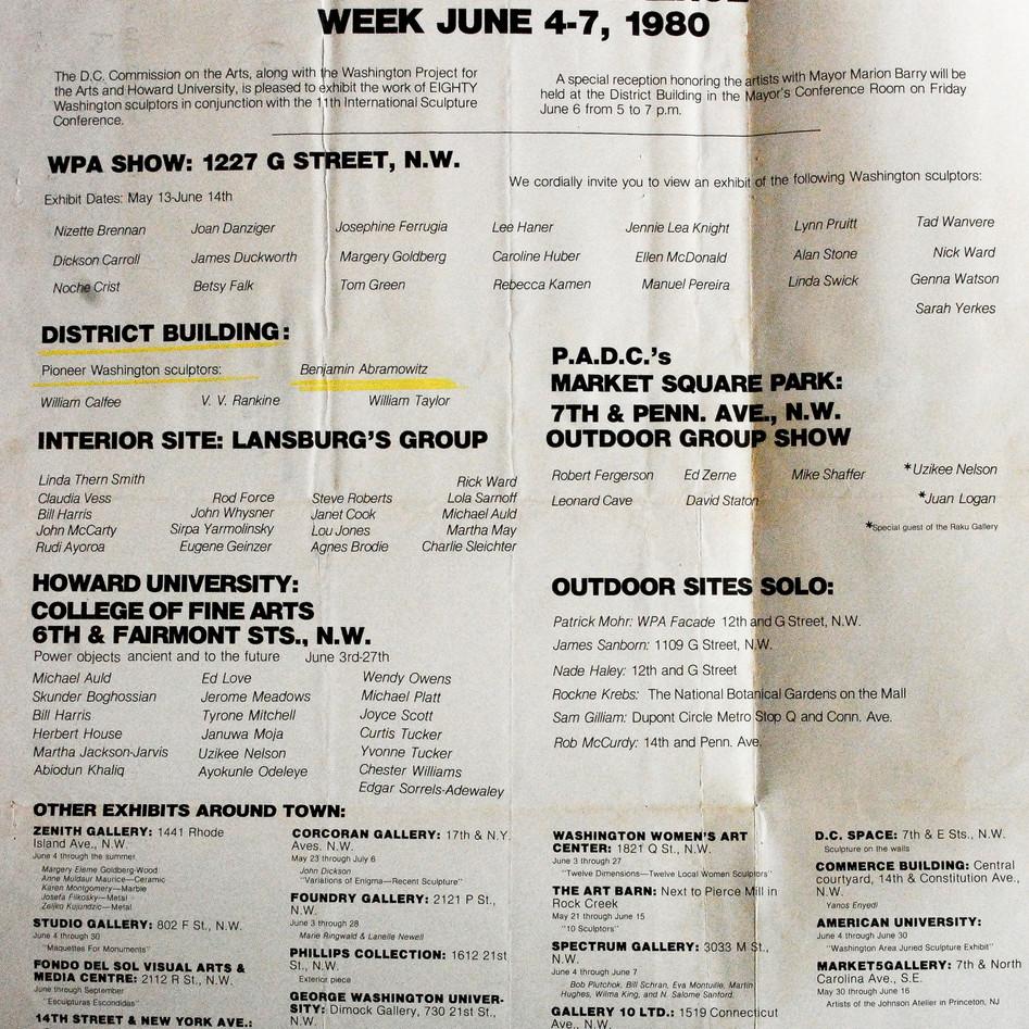 DC International Sculpture Exhibition, 1980