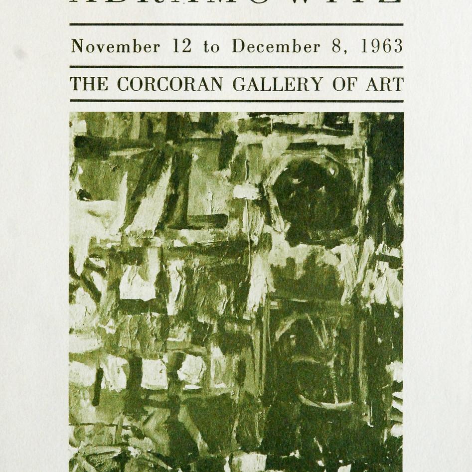 Corcoran Gallery of Art solo exhibition, 1963