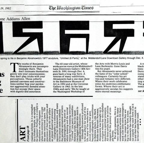 Washington Post review of the Middendorf Gallery solo exhibition, 1982