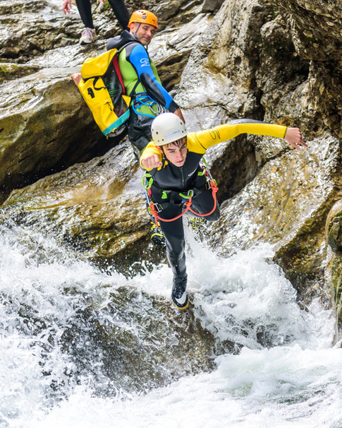 Action pur beim Canyoning
