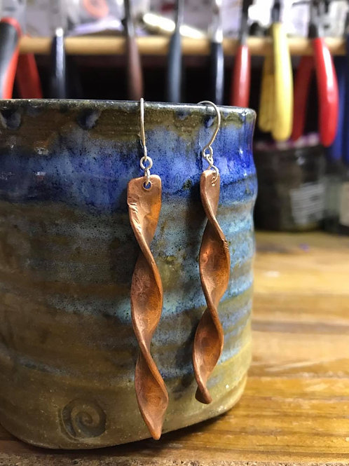 Spiral Copper and Silver Earrings