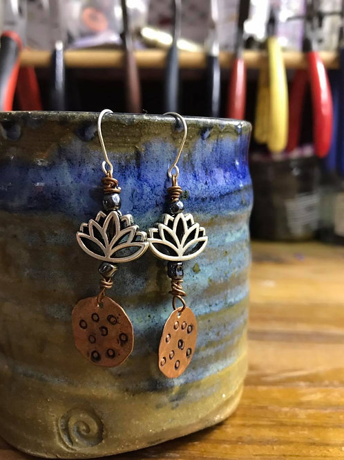 Lotus Copper and Silver Earrings