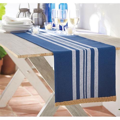 Blue Jute Trim Table Runner