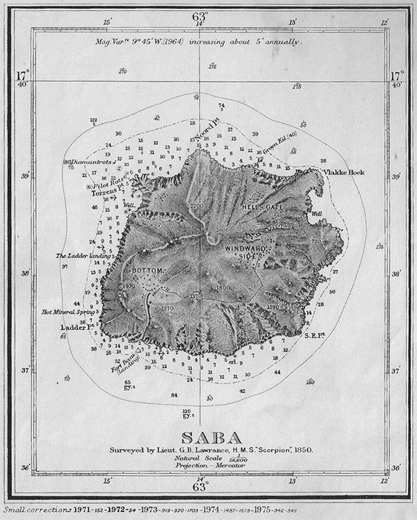 Historical Map of the island of Saba