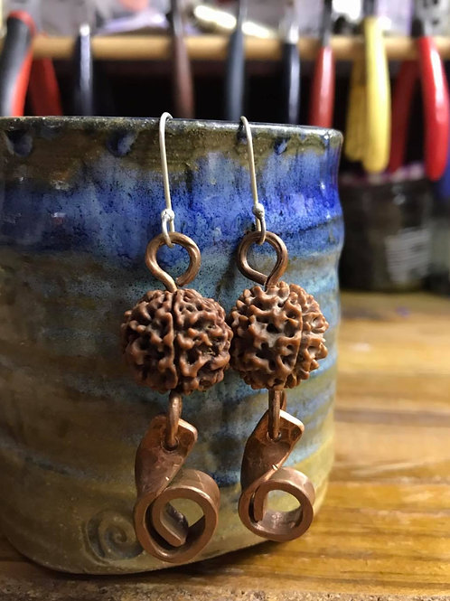 Natural Seed and Copper Earrings
