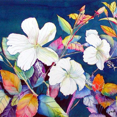 White Hibiscus napkin-Heleen Cornet