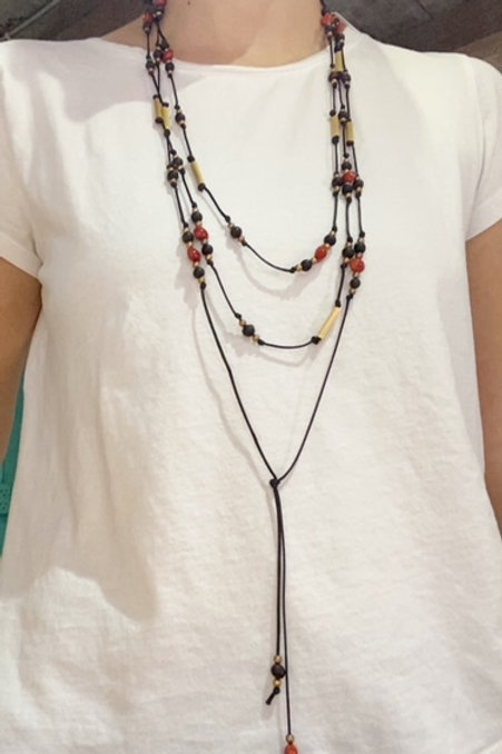 Canna and Pavonina Seed Necklace