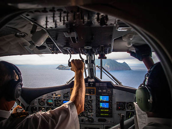 Flying to the Caribbean island of Saba