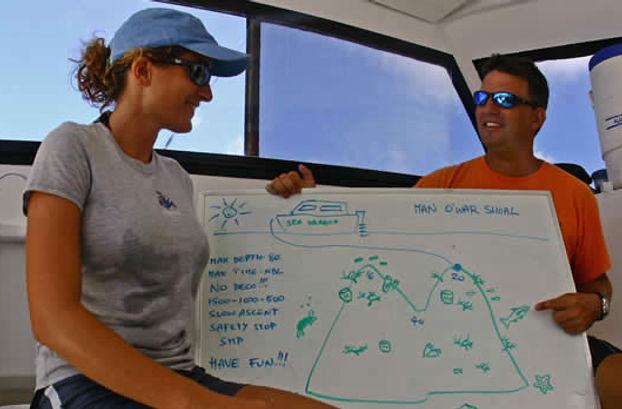 Dive briefing aboard Sea Saba's dive boat.