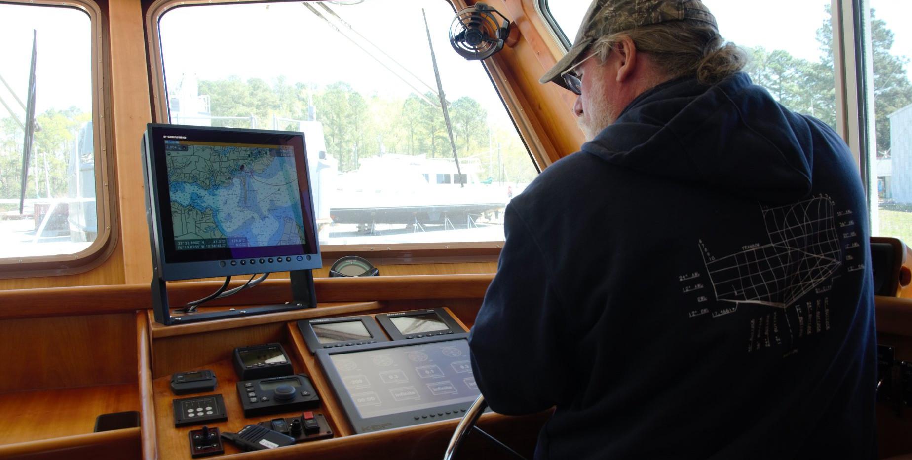 "ABYC Master Technician, Eric, integrating new Maretron technology on 73 Snowbird, ""Retired Sailor III""."
