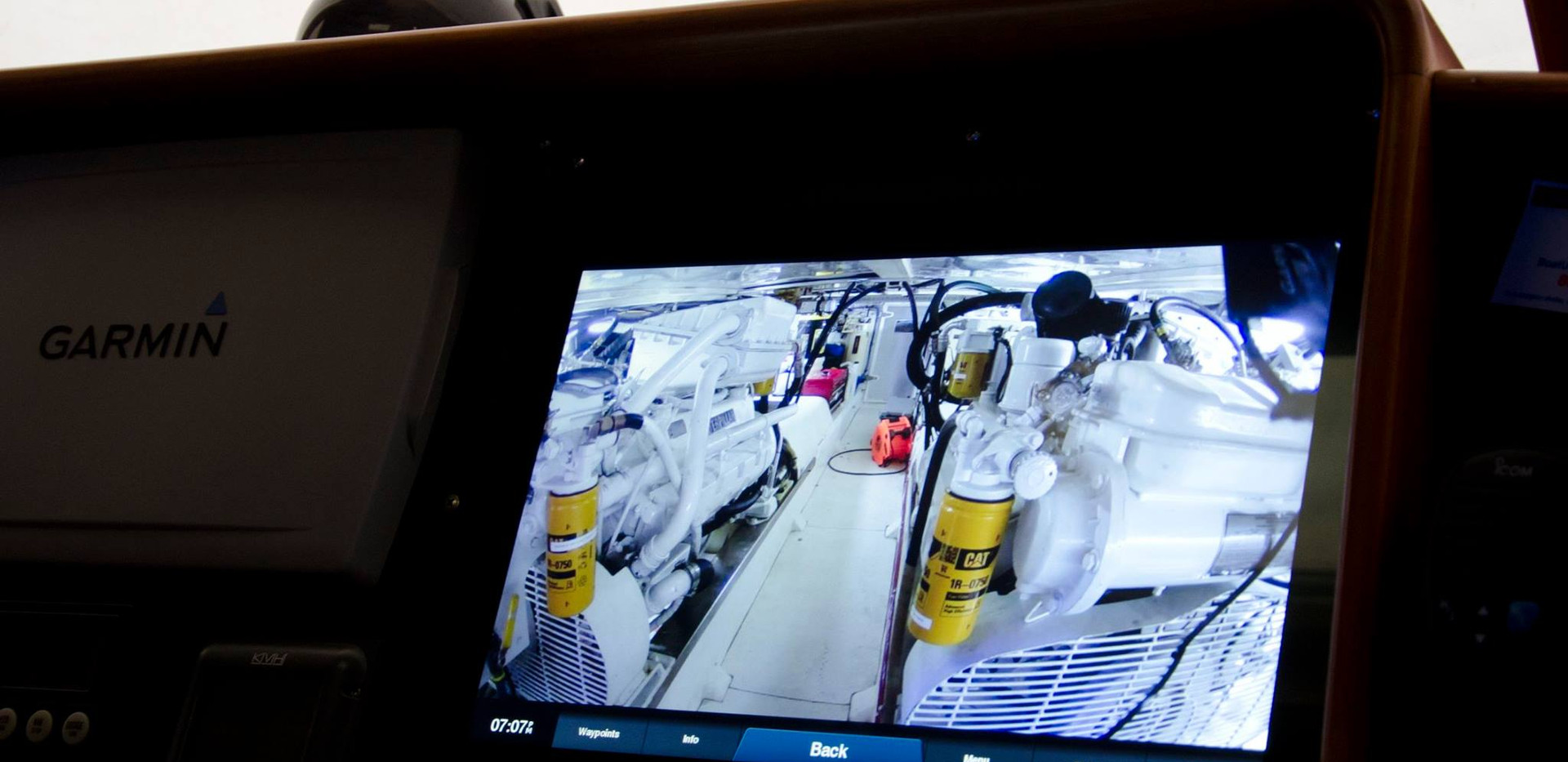 """Engine room camera on the Garmin display 55 Fleming, """"Our Eden""""."""