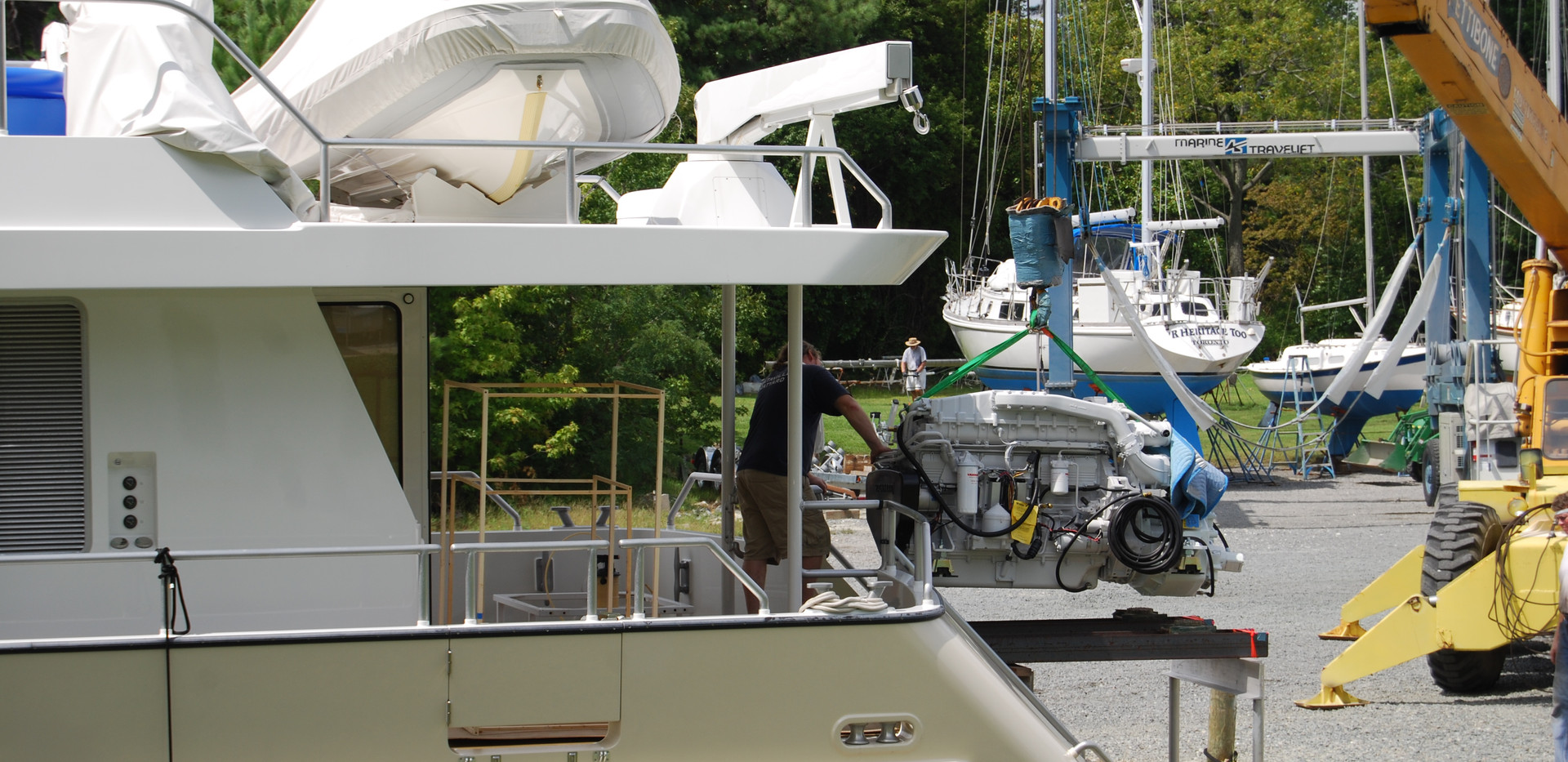 """Installation of new engines for Snowbird 73, """"Retired Sailor III"""", for repower and upgrade of all systems."""