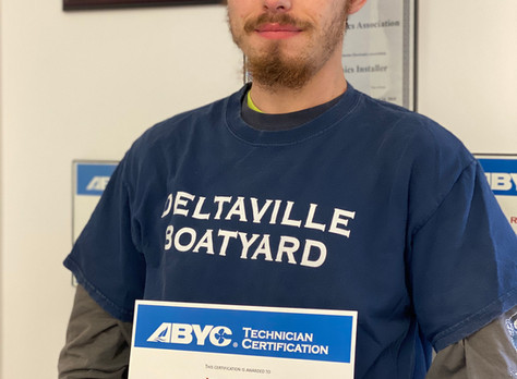 Deltaville Boatyard Technician earns ABYC Marine Systems Certification