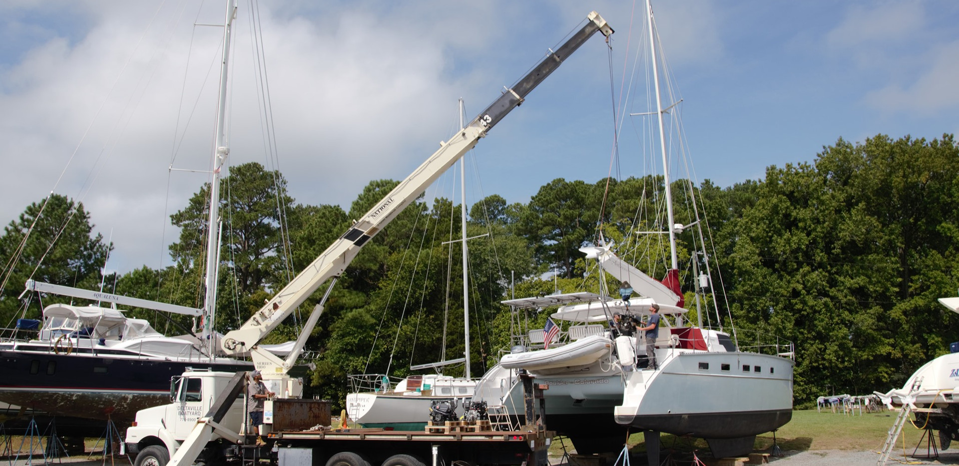 """Two new engines installed as upgrade on this 44 ft Catamaran """"Blue""""."""