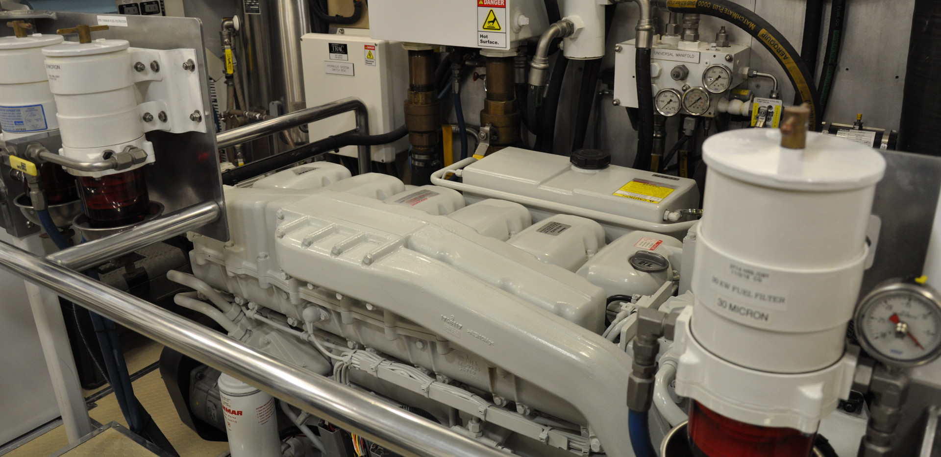 """New engine room on Snowbird 73, """"Retired Sailor III"""", after repowering with new engines and refitting with new upgraded systems."""