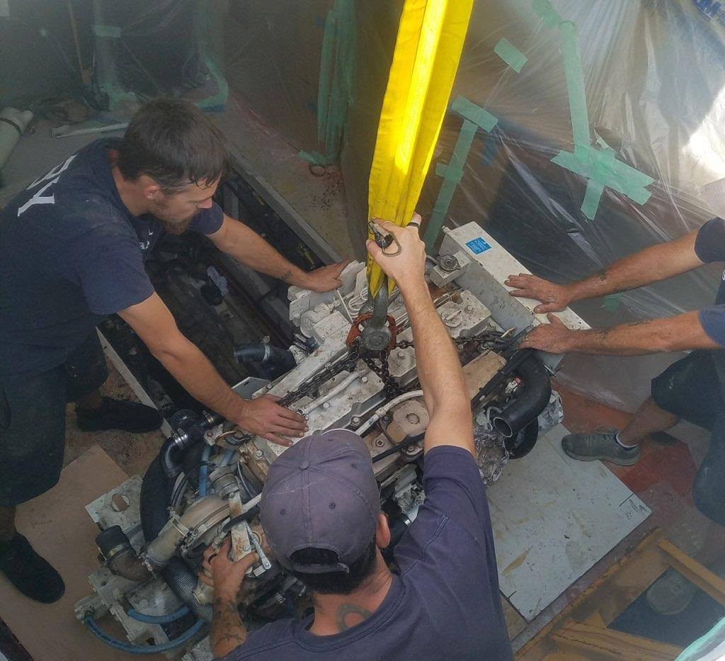 """Repowering 39 ft Sea Ray, """"Happy  Hour V"""", after catastrophic engine damage with new engines."""