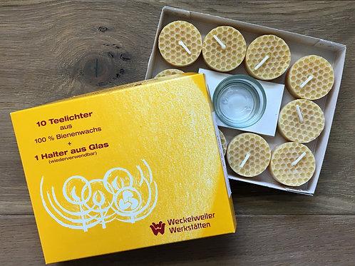 Bienenwachskerze - Teelichter mit einem Glashalter