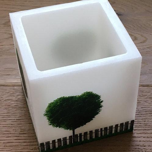 Wachs-Windlicht Würfel - Herzbaum