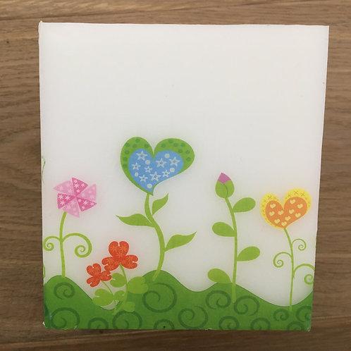 Wachs-Windlicht Würfel - Herzblumen