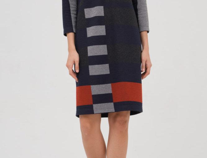 Платье Лоран (серо-красное)
