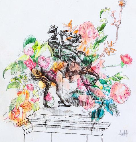 Adele van Heerden - War Memorial and Flowers I