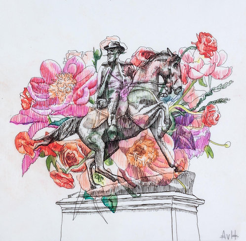 Adele vanHeerden - War Memorial and Flower II