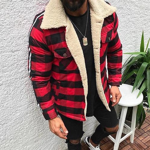 Men's Plaid Plush Overcoat