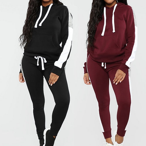 Long Sleeve Tracksuit Women Stripe Running Set