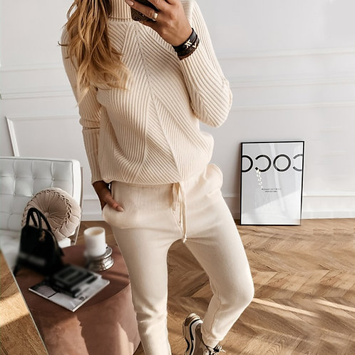 Women's Knitting  Turtleneck Sweater and Elastic Trousers Knitted Two Piece Set