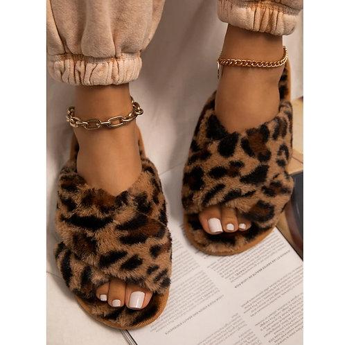 Leopard Peep Toe Cross Plush Slippers
