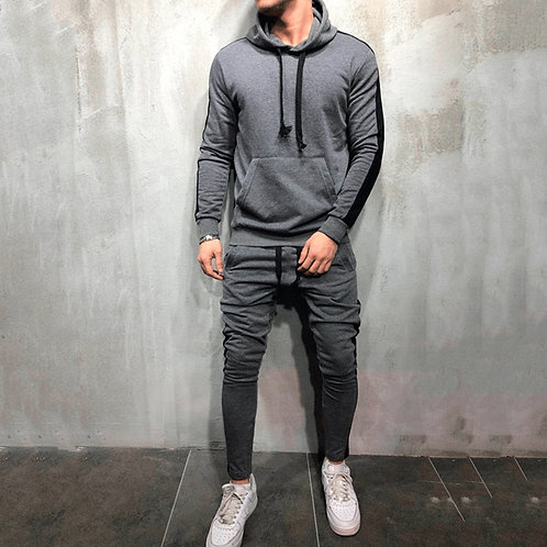 2 Pieces Sets Men Drawstring  Hoodie