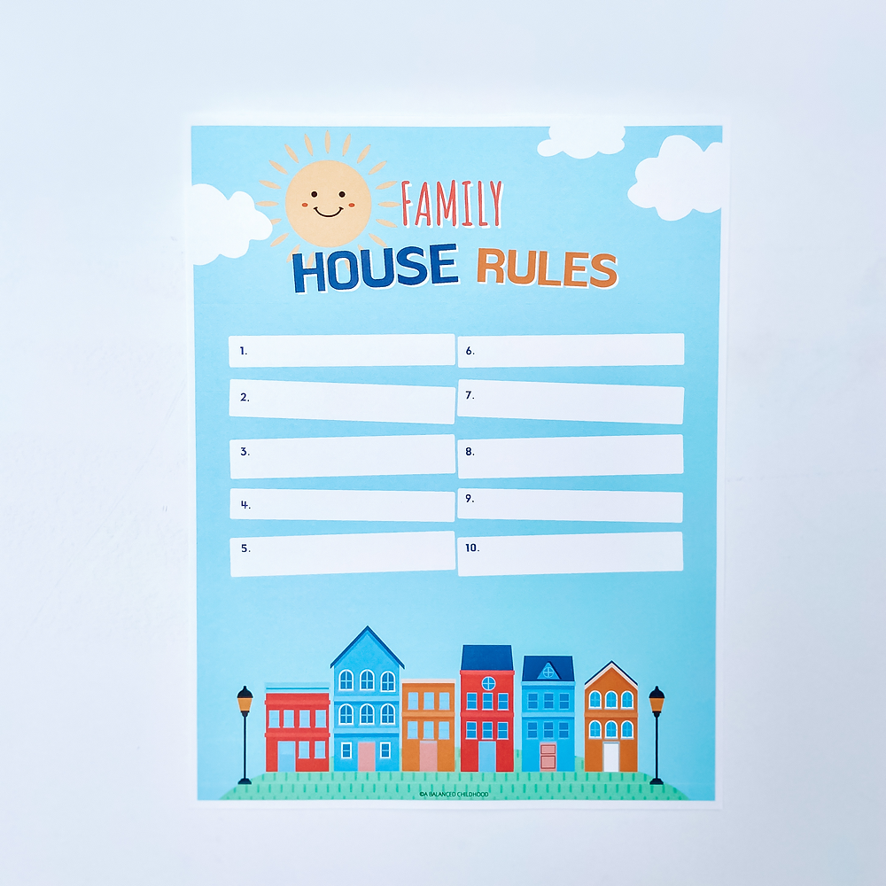 Family House Rules Free Downloadable Printable