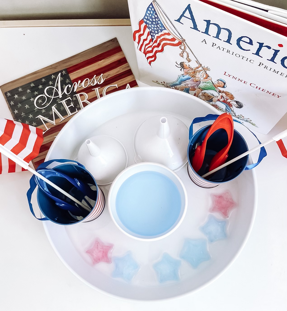 Patriotic Water Play with star shaped ice cubes, red white and blue