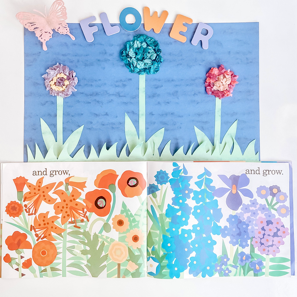 dimensional flower craft out of construction paper, and tissue paper