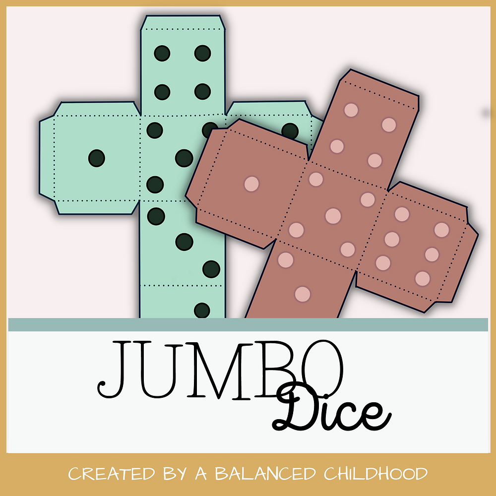 2 Jumbo Dice designed with pretty muted/boho colors
