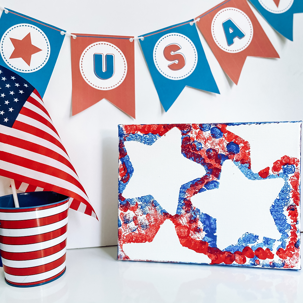 4th of July Star Pom Pom Painting for Children and Free USA Banner Printable