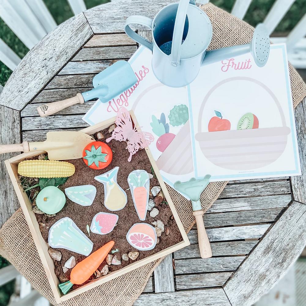 free printable, fruit and vegetable basket sort for kids, pre school, kindergarten, toddlers