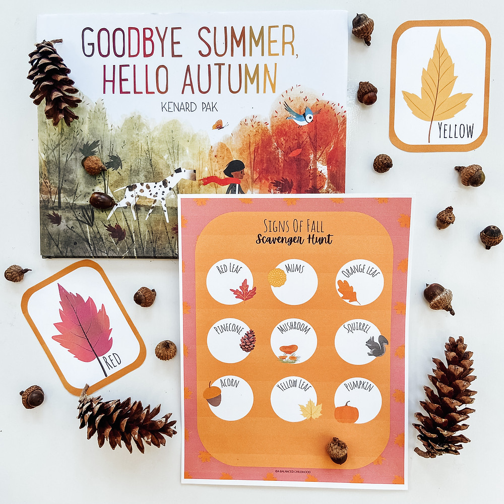 Free Signs of Fall Scavenger Hunt printable for kids