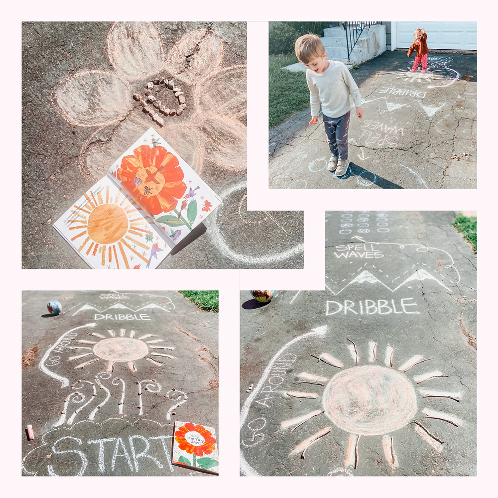 Sidewalk chalk obstacle course depicting the lifecycle of a seed.  Based on Eric Carles, The Tiny Seed