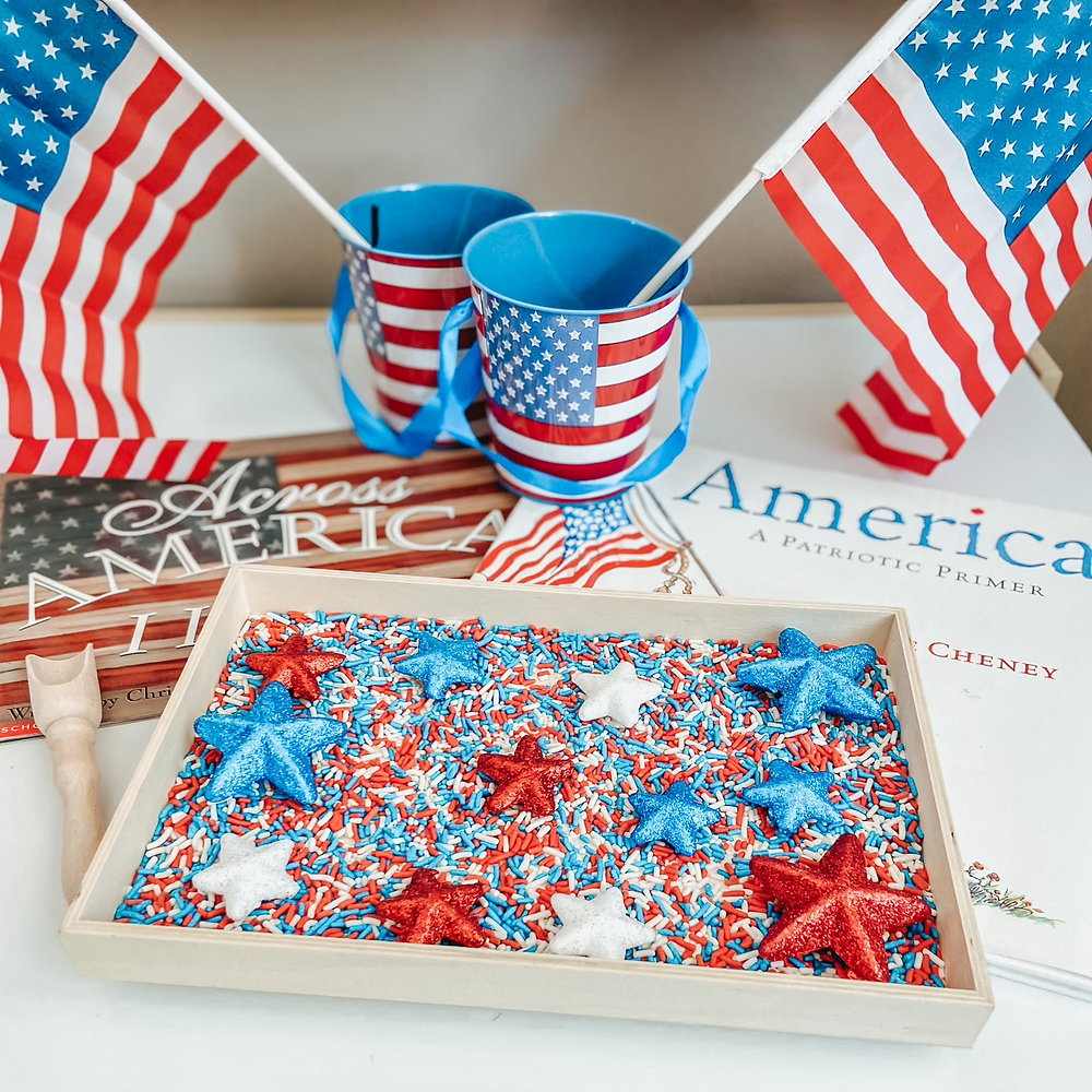 Patriotic Sensory Bin, red white and blue sprinkles and stars