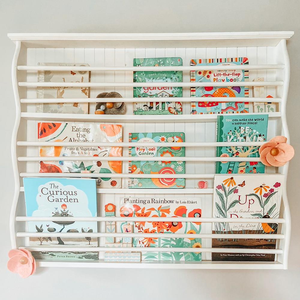 Spring Garden Shelfie, favorite garden themed children's books.