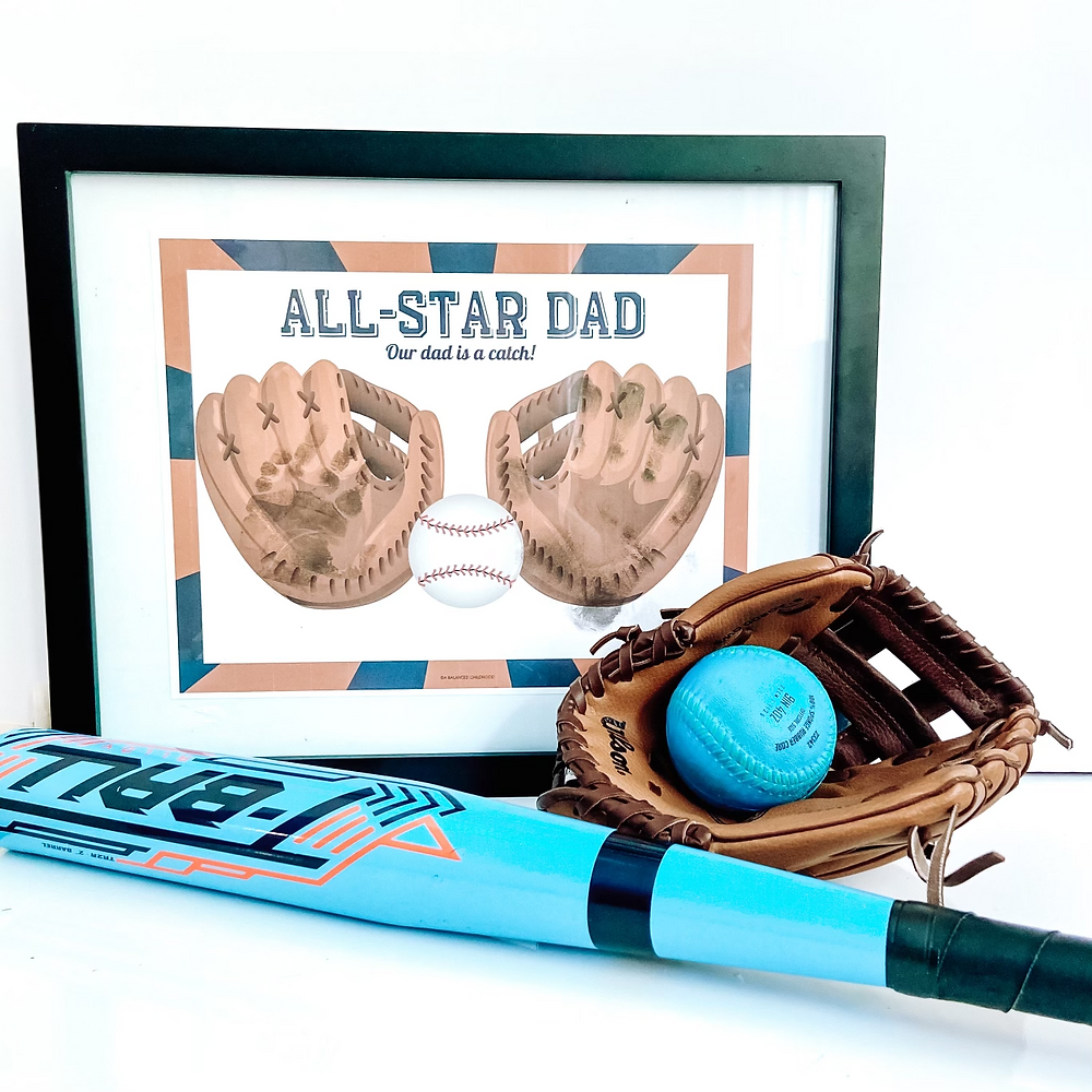 Father's Day gift handprint printable.  Baseball gloves, All-Star Dad, Our dad is a catch!