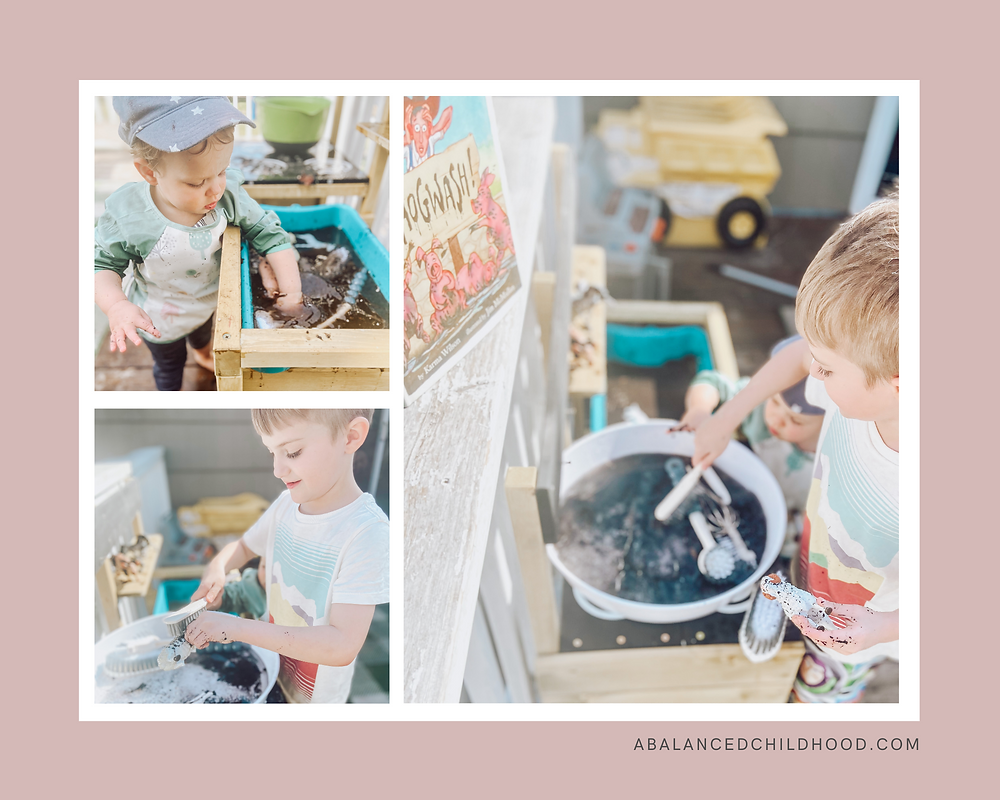 Sensory play in the Mud kitchen.  Washing muddy farm animals after reading the book Hogwash.