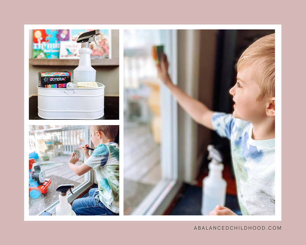 Children's activity: Using liquid chalk markers on windows to learn how to make a mess and clean it up with washing solution.