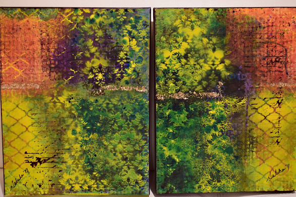 """Mirror Image - a pair of two canvas10""""x12"""" each"""