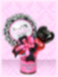 バースデープレゼント オリジナル バルーンアレンジ ピンク黒 名前入り 可愛い