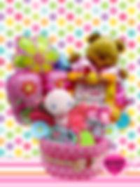 女の子用おむつケーキ おもちゃいっぱい フォトフレーム