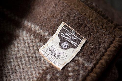 Wollen deken bruin/creme