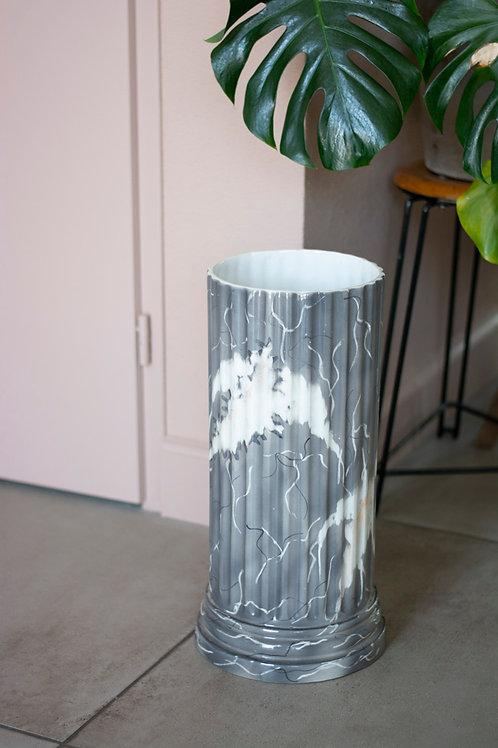 Marmerlook keramieken bloempot / paraplubak / cilindervaas